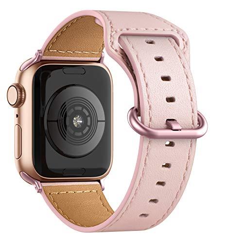 Adepoy für Apple Watch Armband Leder 38mm 40mm 42mm 44mm, Echt Lederarmband Kompatible mit iWatch Series 5/4/3/2/1(Rosa, 38mm/40mm)