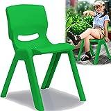Kinderstuhl mit gummierten Füßen bis 100kg belastbar stapelbar und kippsicher Indoor und Outdoor geeignet (aus Kunststoff) (Grün)