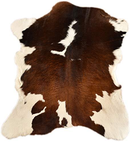 generisch KALBFELL Mini KUHFELL Tricolor BRAUN Weiss Natur CA. 90 x 70 cm DEKO Fell VON KUHFELLE ONLINE
