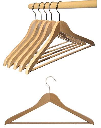 Hagspiel - Grucce appendiabiti in legno, 12 pezzi, in legno di faggio, laccato naturale (vernice ad acqua), con barra per pantaloni, ganci girevoli in metallo nichelato, made in Austria