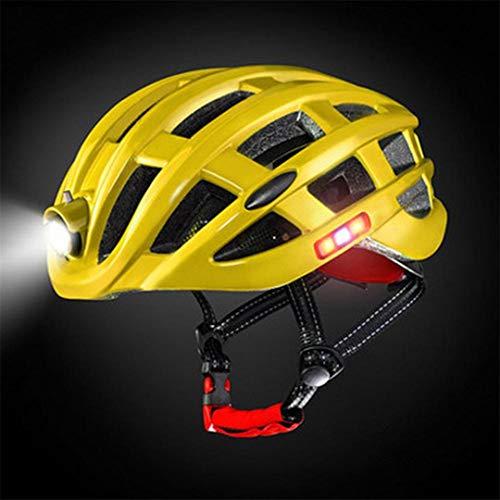 BTY-BICYLEN Sports Plein air Casque avec lumière VTT équitation Casque Protection pour Le vélo Vélo Cycliste Primrose Yellow
