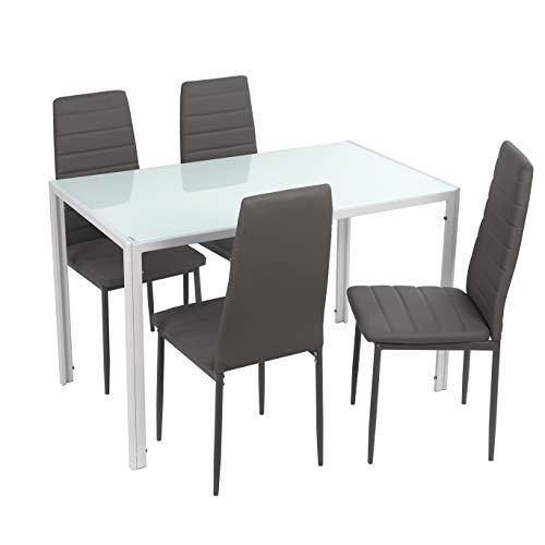 Noorsk Design Conjunto de Mesa de Comedor 120x70 + 4 sillas Clasik (Sillas Grises)