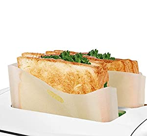 pengxiaomei 10 Pack Toaster Bags, Non-Stick Reusable Snack Sandwich Toast Bags for Microwave Oven Toaster Grill and Griddle