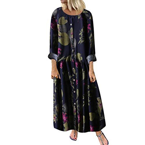 Honestyi Damen Kleid Bohème Lange Rock Maxi Strandkleid Bustier Kleid Herbst Winter Floral Print Petticoat Langarm Chic Abendkleid Vintage Große Größe Kleider 2019 Gr. 5X-Large, Marineblau