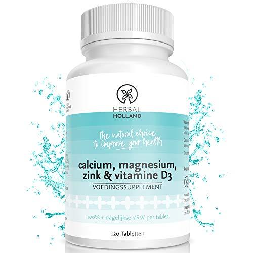 Calcium Magnesium Zink & Vitamine D3 Complex Voor Mannen & Vrouwen - Hoog Gedoseerd Veganistische Pillen Voor Sterke Botten, Gewrichten & Sterk Immuunsysteem - 120 Tabletten