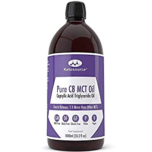 Premium Pure C8 MCT Oil | Boosts Ketones 3X More Than Other MCTs | Highest 99.8% Purity | Vegan & Keto Friendly | Gluten & Dariy Free | BPA-Free 1000ml Plastic Bottle | Caprylic Acid | Ketosource®