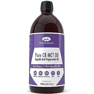 Premium Pure C8 MCT Oil | Boosts Ketones 3X More Than Other MCTs | Highest 99.8% Purity | Vegan & Keto Friendly | Gluten & Dariy Free | BPA-Free 1000ml Plastic Bottle | Caprylic Acid | Ketosource®