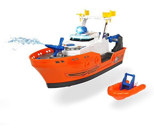 Dickie Toys Harbour Rescue, reddingsschip met handmatige lier Kussenwache, incl. waterpomp, anker en reddingsboot, licht & geluid, incl. batterijen, 40 cm, vanaf 3 jaar