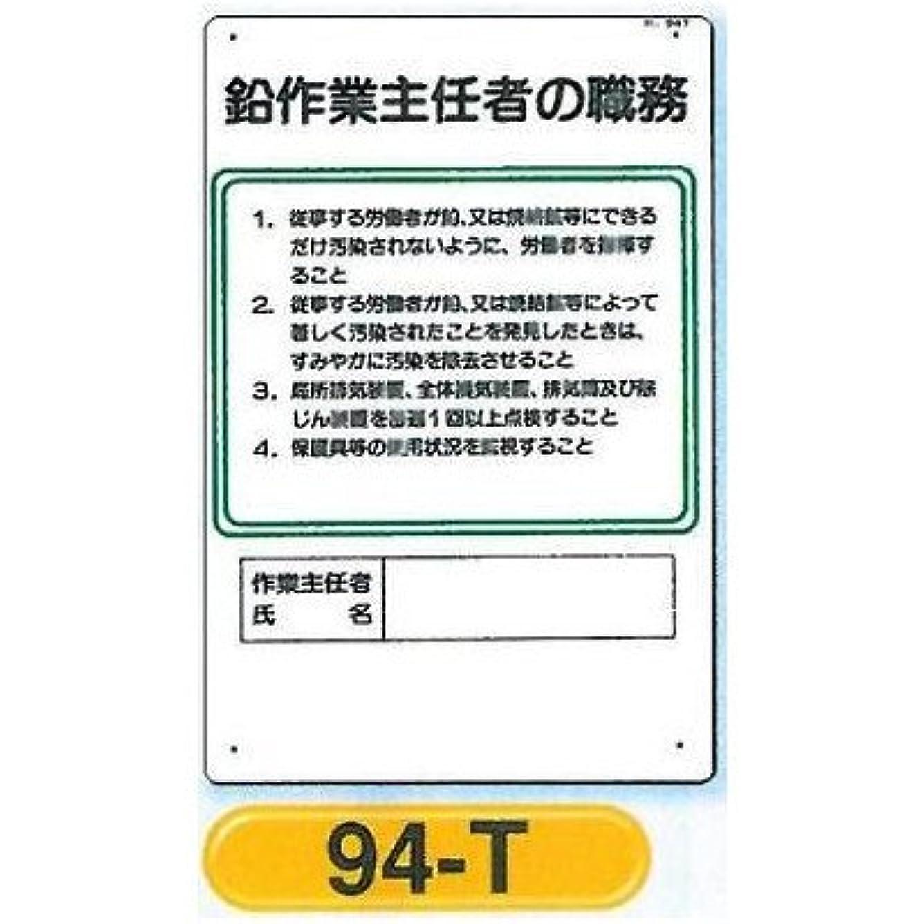 銛全くエゴイズムつくし工房 作業主任者の職務板 鉛作業主任者の職務板 94-T