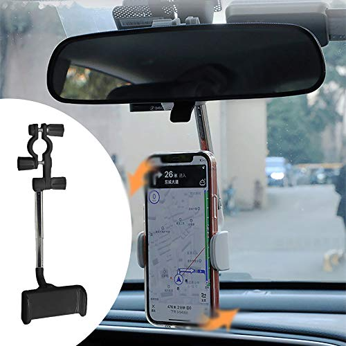 Flexible Car Phone Holder on Rear View Mirror , Rearview Mirror Mount Phone Holder , 360 Rearview Mirror Phone Holder for Car , Rear View Mirror Phone Holder Adjustable Stand (Black)