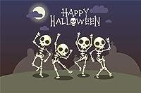 Qinunipoto 背景布 ハロウィン happy halloween 写真の背景 背景幕 写真ブース撮影 どくろ 踊りを踊る パーティーの背景 夜 黄色の丸い月 雲 背景ポスター 写真背景 人物撮影 撮影用 小道具 ビニール 2.5x1.8m