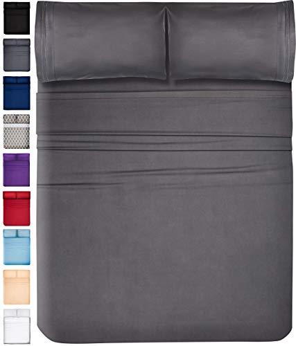 DreamCare Deep Pocket Sheets Microfiber Sheets Bed Sheets Set 4 Piece Bedding Sets California King Size, Gray