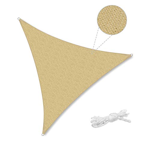 Sekey Toldo Vela de Sombra Triangular HDPE Protección Rayos UV Resistente Permeable Transpirable para Patio, Exteriores, Jardín, con Cuerda, 5×5×5m Arena
