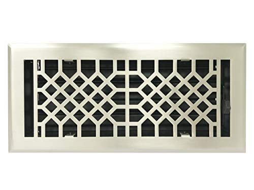 Empire Register Co, Antique Style Design, Brushed Nickel Finish, Heavy Duty Floor Register. Floor Vent Covers Size - 4 x 10 inch, Overall Face Size - 5.5 x 11.5 inch.