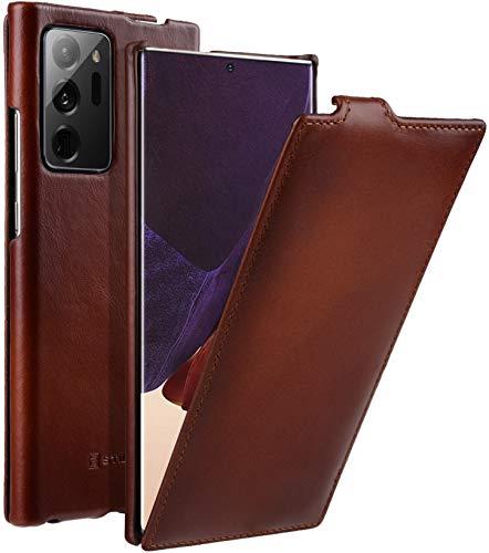StilGut UltraSlim kompatibel mit Samsung Galaxy Note 20 Ultra Hülle aus Leder - Samsung Note 20 Ultra Flip Hülle, Klapphülle, Handyhülle, Lederhülle - Cognac Antik