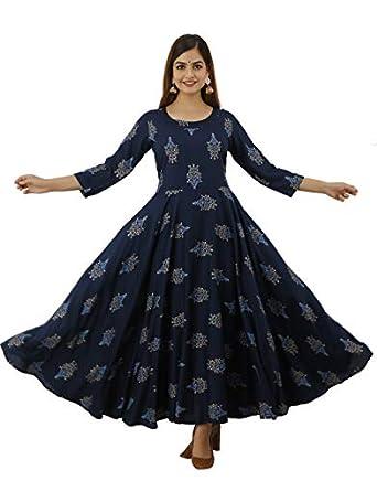 Lee Moda Women's Anarkali Kurta   Anarkali Kurta for Womens Gown   Floral Flared Kurta   Kurti for Womens 2021