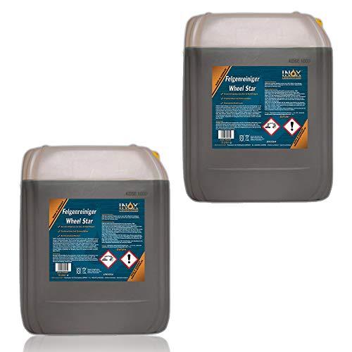 INOX® Felgenreiniger Konzentrat, 2 x 5L - Reiniger für Alufelgen und Stahlfelgen entfernt starke Verschmutzungen wie Flugrost und Bremsstaub