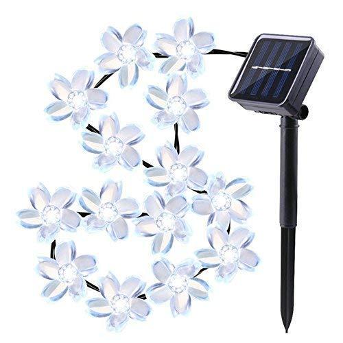 YiMiky - Guirnalda de luces solares con 50 luces LED, diseño de flores de Sakura