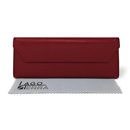 LAGO TERRA Tilt Flat-Folding Glasses Case - Red