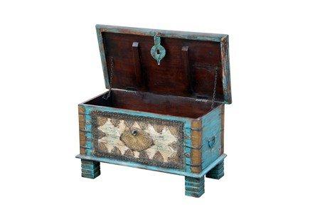 Orientalische Truhe Kiste aus Holz Ezgi 80cm groß in Antik | Vintage Sitzbank mit Aufbewahrung für den Flur | Aufbewahrungsbox mit Deckel im Bad | Betttruhe als Kissenbox oder Deko im Schlafzimmer - 2