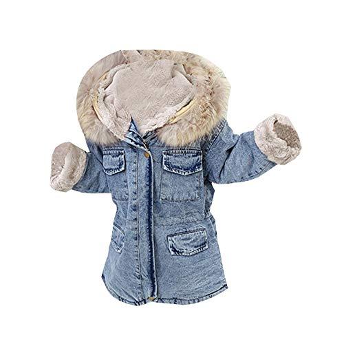 HWTOP Kapuzenjacke Kleinkind Jeansjacke Baby Mädchen Dicke Wollkragen Warmgürtel Denim Mantel Jacke Schlank Outwear mit Kapuzen Tasche Kunstpelzkragen, Blau, 9-10 Jahre