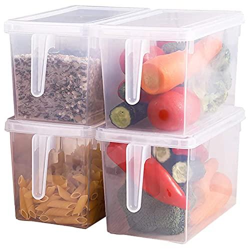 Xnuoyo Organizador Nevera Cocina y Alacena con Asa y Tapa, Recipiente de Almacenaje de Alimentos hermético, Reutilizables Cajones Nevera Plástico Transparente para el Refrigerador,Baño, Alacen