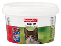Beaphar Top 10 Multi Vitamin Tablets CATS - is a tasty flavoured treat that promotes vitality and good physical condition. Containing a wide variety of essential vitamins and minerals, this tasty tablet treat helps to maintain good strong bodily func...
