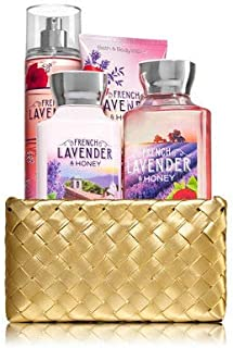 Bath and Body Works FRENCH LAVENDER & HONEY Gold Woven Basket Gift Kit