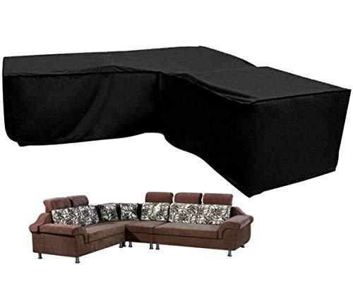 Silvotek L-förmigen Abdeckung Lounge Sofa - Lounge Abdeckung l-Form mit Spannschnüren unten,210D abdeckplane für gartenmöbel L-Form schutzhüllen für gartenmöbel (L-Form 215 x 215 x 87 cm)