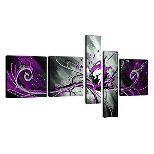Yatsen Bridge Globalartwork- Handpainted 5 Piece Black White Purple Modern Abstract Oil Paintings on Canvas Peacock Pictures Wall Art for Home Decoration