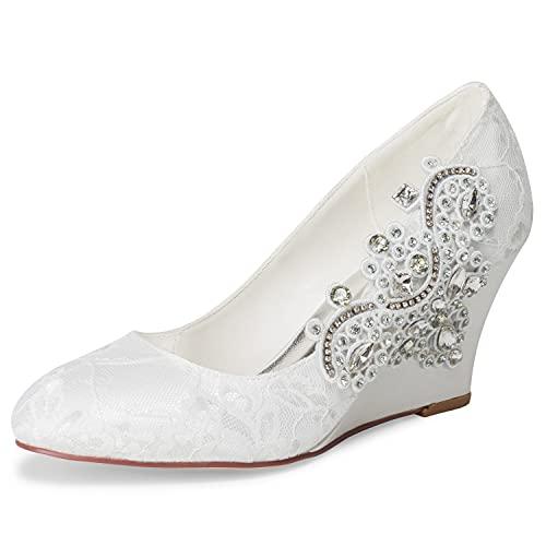 JIAJIA 1217524 Zapatos de Novia para Mujer Punta Cerrada 7.5 cm Tacón...