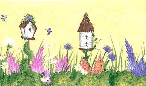 Dundee Deco BD6312 Tapeten Bordüre, vorgeklebt, Blumenmuster, Gelb, Grün, Pink, Violett, Vogelhäuser, Blumen, Wandbordüre, Tapetenbordüre Retro-Design, 4,57 m x 17,5 cm