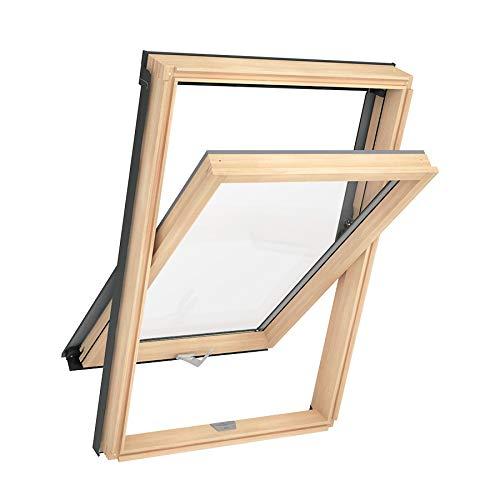Solstro AAX B500 Fenêtre De Toit, Finition Naturelle en Pin et Raccord d'étanchéité Tuile - C2A, 55 x 78cm