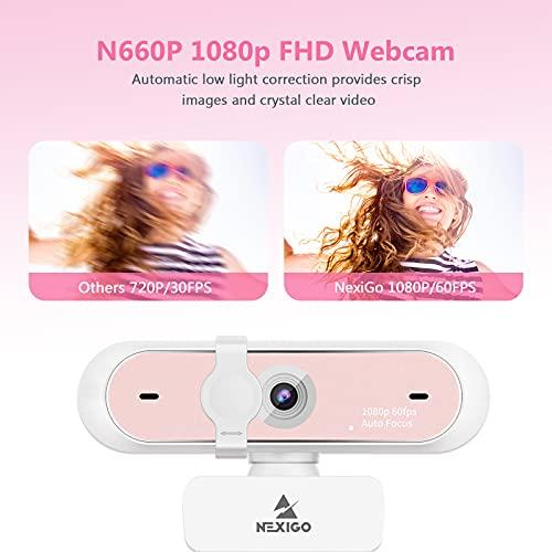 NexiGo N660P - Webcam Pink - 60fps 1080p (Full-HD)