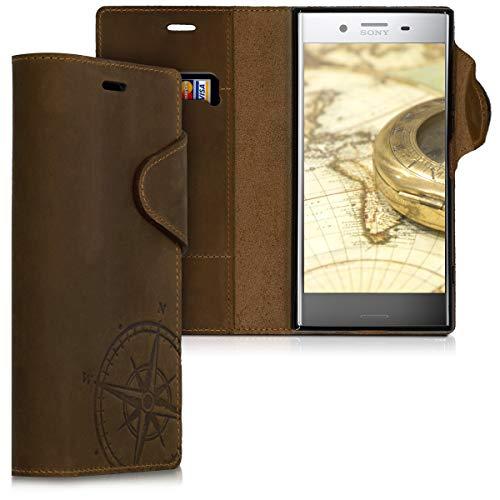 kalibri Wallet Hülle kompatibel mit Sony Xperia XZ Premium - Hülle Leder - Handy Cover Handyhülle Kompass Vintage Braun