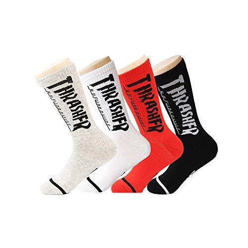 TTD 4 Paquetes de Calle de Moda Calcetines Letras THRASHFR tubo de algodón calcetines para hombres y mujeres skateboarding medias