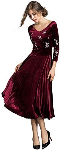 Womens V Neck Velvet Floral Embroidered Cocktail Party Pleated Tea Dress Burgundy 2 4 product image
