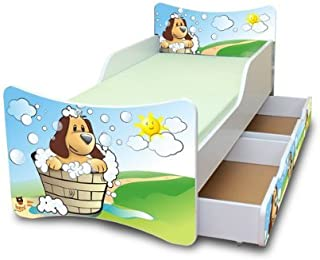 Best For Kids Chilldren s Bed with Foam Mattress with T V CERTIFIED 80x200 DOGS WITH TWO DRAWERS