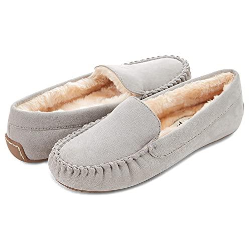 Floopi Womens Indoor/Outdoor Basic Memory Foam Moccasin Slipper (8, Grey-323)