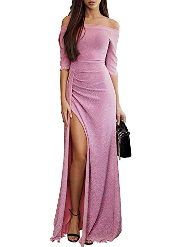 FIYOTE Damen Off Cocktailkleid Shoulder Kleider für Hochzeit Elegant Maxikleider Glänzend Hoch Geschnitten Abendkleider 5 Farbe S/M/L/XL, Lila 1, Small (EU38-EU40)