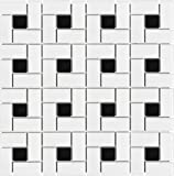 Glazed Porcelain White and Black Pinwheel Mosaic Tiles - 10 Square Foot Box