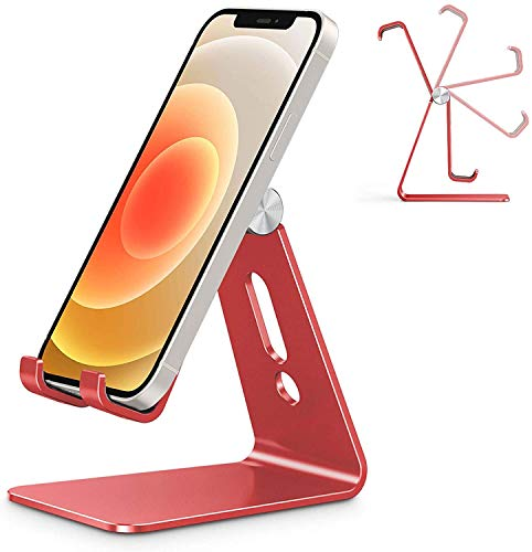 Adjustable Cell Phone Stand, OMOTON C2 Aluminum Desktop Phone Holder Dock Compatible with iPhone 11 Pro Max Xs XR 8 Plus 7 6, Samsung Galaxy, Google Pixel, Android Phones, Red