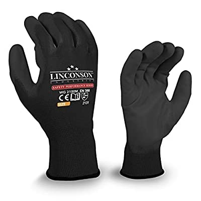 LINCONSON 25 Pack Ultimate Grip Construction Mechanics Work Gloves Nylon/Polyester Seamless-Knit with Polyurethane Palm Coating-Safety Performance Series