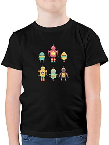 Up to Date Kind - Bunte Roboter - 164 (14/15 Jahre) - Schwarz - Roboter Shirt Jungen - F130K - Kinder Tshirts und T-Shirt für Jungen