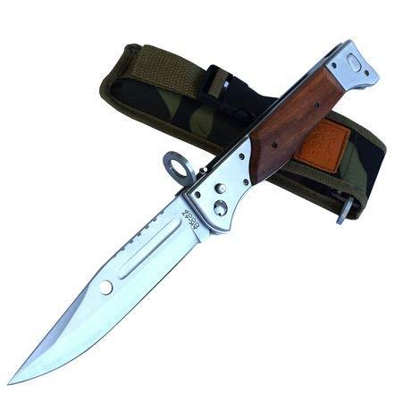 CCCP AK 47 Russia USSR Faltbar Messer Klinge Knife Jagdmesser Gürtelmesser Griff aus Holz und Mettal, Gesamtlänge 34cm. Camping