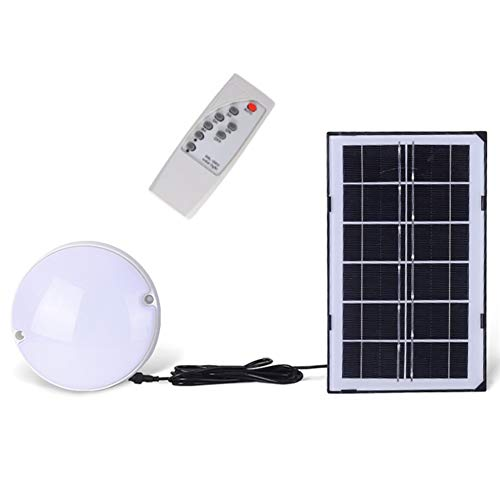 MCLseller Solar LED Ceiling Light, Auto On/Off Solar LED Ceiling/Pendant Light with Remote Control, Dimmable ​Cool White Solar Barn Light for Outdoor Shed, Yard, Patio, Garden, Garage