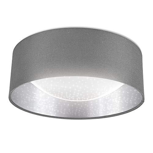 B.K.Licht I LED Stoff-Deckenleuchte mit Sternenhimmeleffekt I Grau-Silber I 12W LED-Platine I 1.200lm I 4.000K neutralweiße Lichtfarbe I Stofflampe I Ø32cm