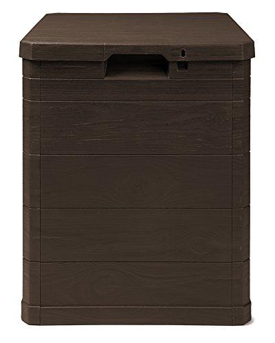 Ondis24 Aufbwahrungsbox Madera Mini Holz-Optik 90L abschließbar Truhe Kissenbox (Braun)