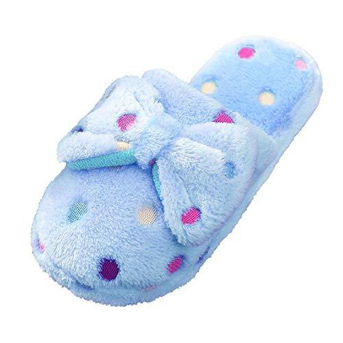 U/A Winter Plüsch Hausschuhe Damen Indoor Home Hausschuhe Reine Baumwolle süße Schuhe Polka Dot Bogen