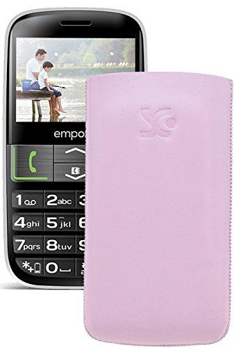 Original Suncase Tasche für / Emporia EUPHORIA V50 / Leder Etui Handytasche Ledertasche Schutzhülle Hülle Hülle - Lasche mit Rückzugfunktion* In Rosa
